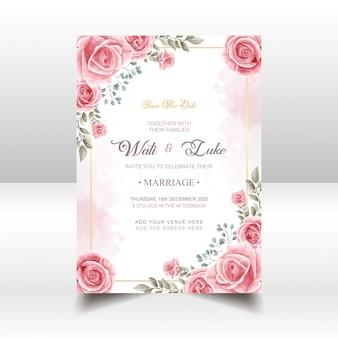 Bruiloft uitnodigingskaart met roze roos bloem aquarel stijl