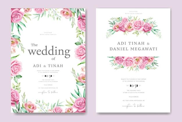 Bruiloft uitnodigingskaart met rozen en bladeren