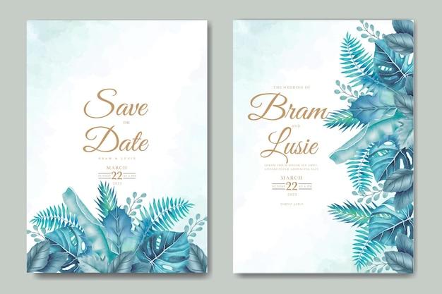 Bruiloft uitnodigingskaart met tropische bladeren aquarel