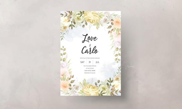 Bruiloft uitnodigingskaart met warme zachte herfst herfst bloemen