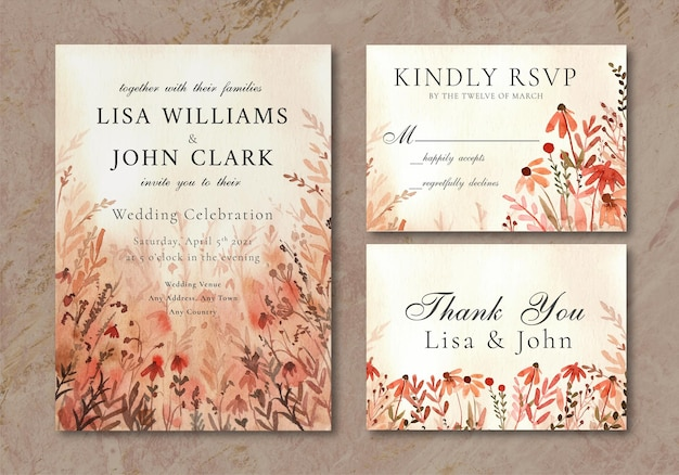Bruiloft uitnodigingskaart met wilde bloemen landschap warme achtergrond