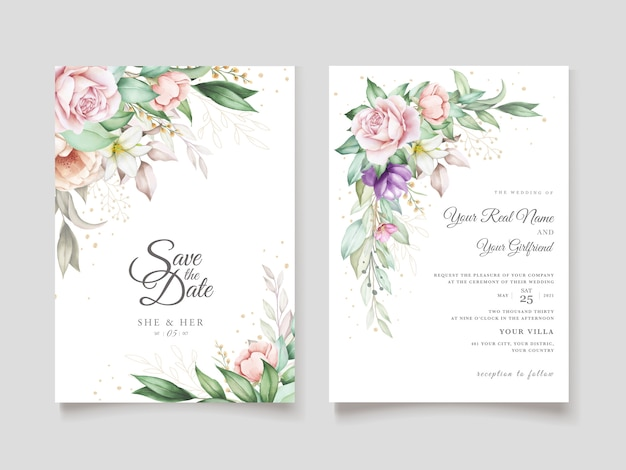 Bruiloft uitnodigingskaart met zachte groene aquarel bloemen