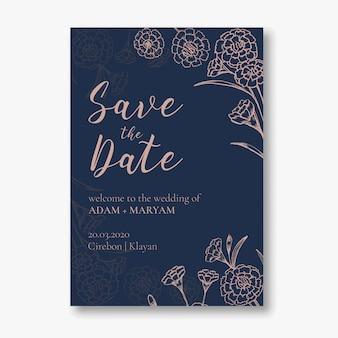 Bruiloft uitnodigingskaart moderne eenvoudige stijl met overzicht hand getrokken doodle anjer bloem vintage frame sieraad