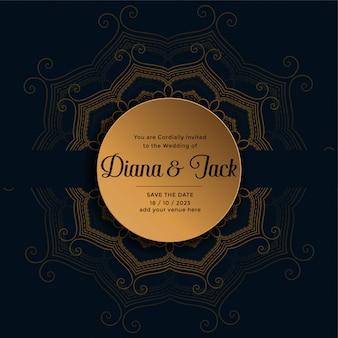 Bruiloft uitnodigingskaart ontwerp in gouden mandala-stijl