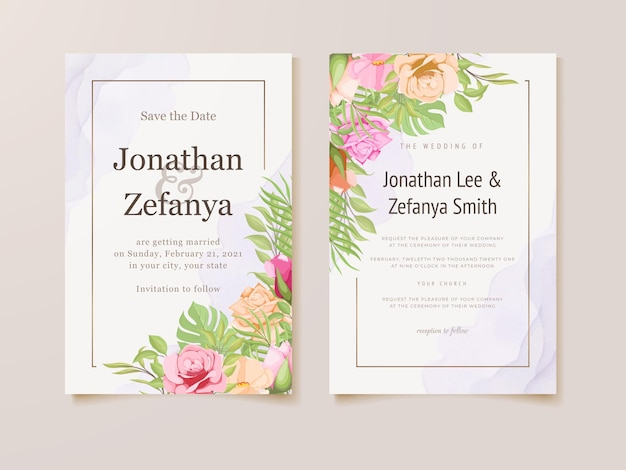 Bruiloft uitnodigingskaart set bloemen sjabloonontwerp