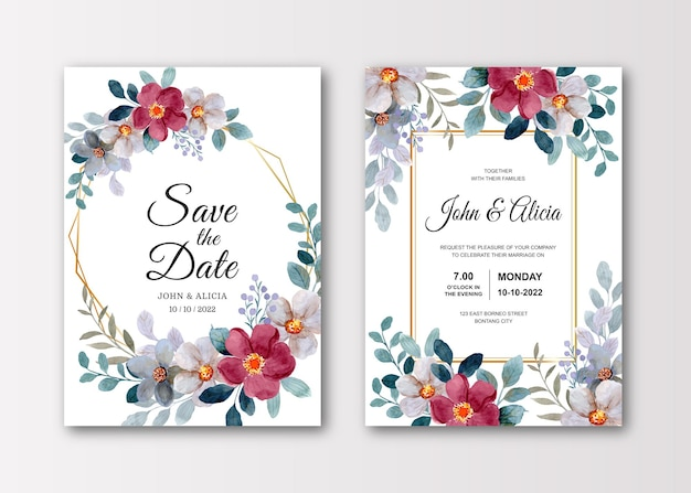 Bruiloft uitnodigingskaart set met aquarel bloem