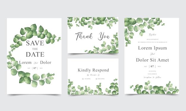 Bruiloft uitnodigingskaart set met aquarel groen bladeren