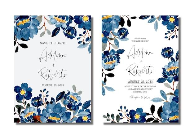 Bruiloft uitnodigingskaart set met blauwe bloemen aquarel
