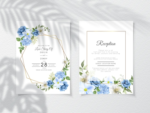 Bruiloft uitnodigingskaart set met blauwe rozen