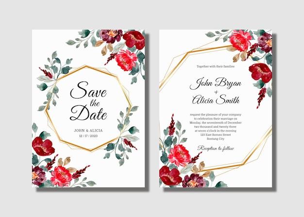 Bruiloft uitnodigingskaart set met bordeauxrode bloemenwaterverf