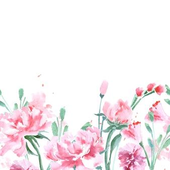 Bruiloft uitnodigingskaart set met een aquarel pioenrozen vector naadloze aquarel grens met pioenrozen