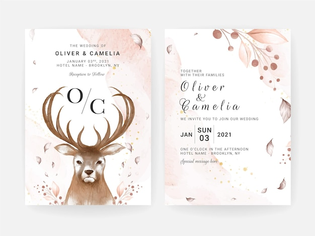 Bruiloft uitnodigingskaart set met handgeschilderde hertenkop en bloemen aquarel