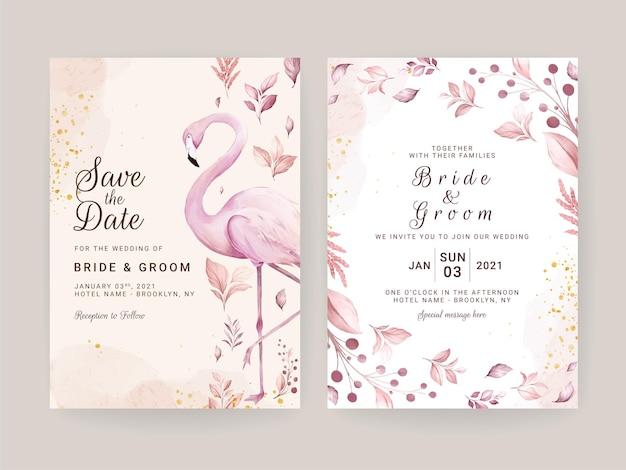 Bruiloft uitnodigingskaart set met handgeschilderde roze flamingo en bloemen aquarel Premium Vector