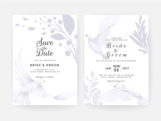 Bruiloft uitnodigingskaart set met handgeschilderde witte duif en bloemen aquarel