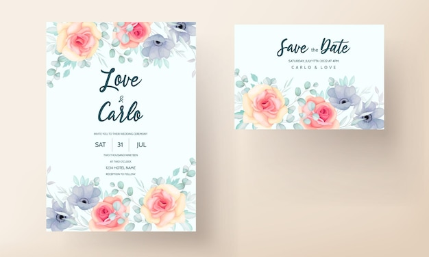 Bruiloft uitnodigingskaart set met lentebloemen en bladeren