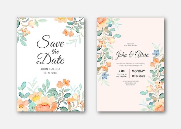 Bruiloft uitnodigingskaart set met wilde bloemen aquarel