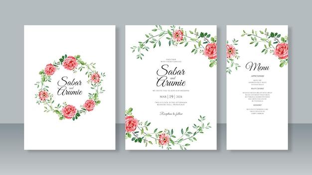 Bruiloft uitnodigingskaart set sjabloon met aquarel bloemen