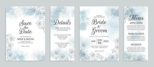 Bruiloft uitnodigingskaart sjabloon set met aquarel achtergrond en handgetekende bloemendecoratie floral