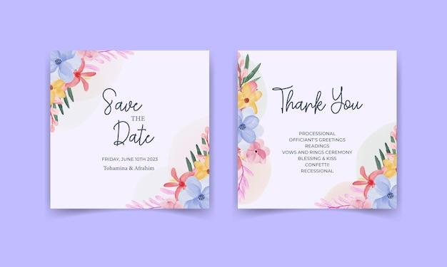 Bruiloft uitnodigingskaart sjabloon set met aquarel bladeren en bloemen