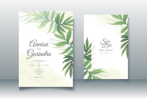 Bruiloft uitnodigingskaart sjabloon set met prachtige tropische bladeren