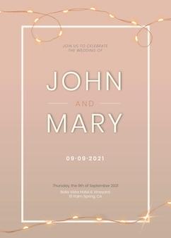 Bruiloft uitnodigingskaart vector bewerkbare sjabloon met prachtige bedrade lichten