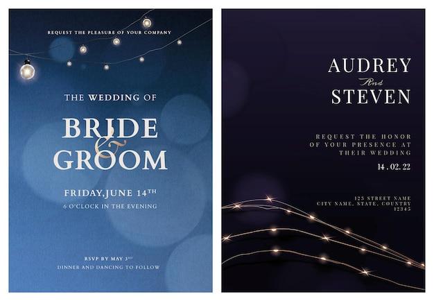 Bruiloft uitnodigingskaart vector bewerkbare sjabloon met prachtige verlichting collectie