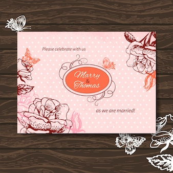Bruiloft uitnodigingskaart. vintage illustratie met handgetekende rozen en vlinder