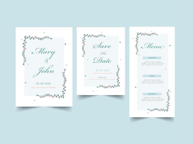 Bruiloft uitnodigingskaart zoals opslaan van de datum, menusjabloon lay-out op blauwe achtergrond.