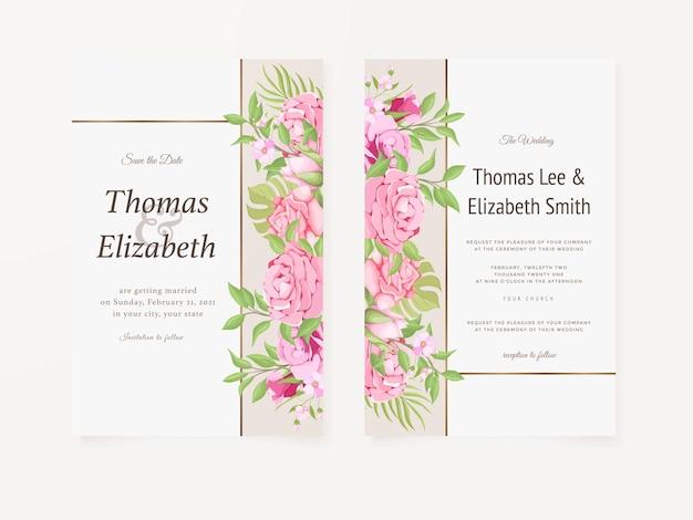 Bruiloft uitnodigingskaart zomer bloemen sjabloonontwerp