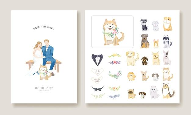 Bruiloft uitnodigingskaarten, bewaar de datumsjabloon. bruid en bruidegom met hun hondbeeld.