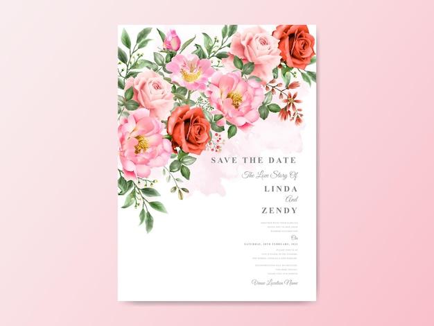 Bruiloft uitnodigingskaarten bloemen handgetekende