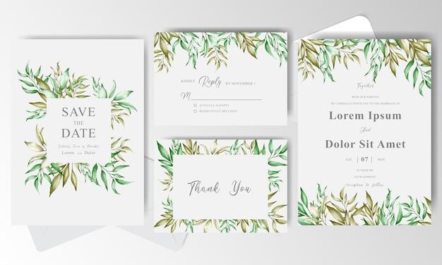 Bruiloft uitnodigingskaarten instellen sjabloon met gebladerte frame