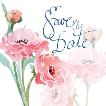 Bruiloft uitnodigingskaarten met aquarel bloeiende ranunculus. vector illustratie.