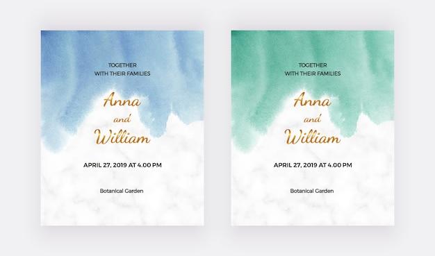 Bruiloft uitnodigingskaarten met blauwe, groene aquarel textuur.
