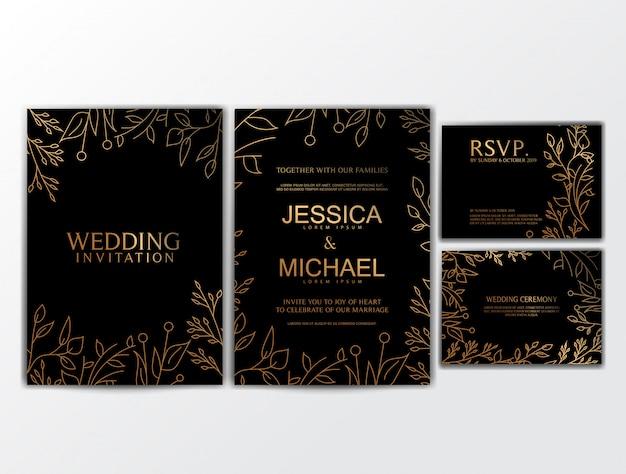 Bruiloft uitnodigingskaarten met bloem ornament
