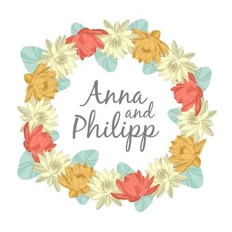 Bruiloft uitnodigingskaarten met bloemen elementen