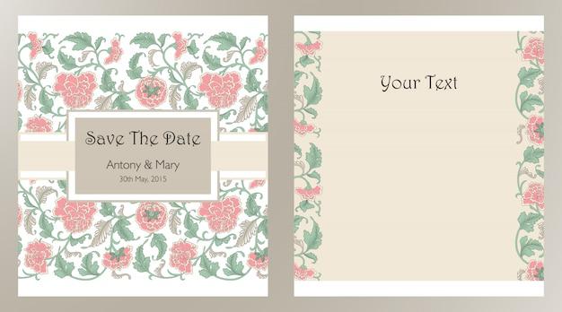 Bruiloft uitnodigingskaarten met florale elementen