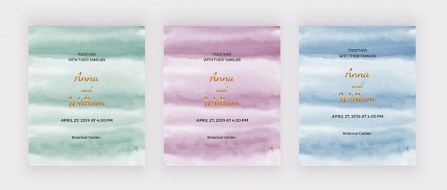 Bruiloft uitnodigingskaarten met groene, roze en blauwe aquarel textuur.