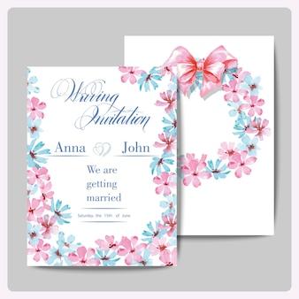Bruiloft uitnodigingskaarten met krans van aquarel wilde bloemen. vector illustratie.
