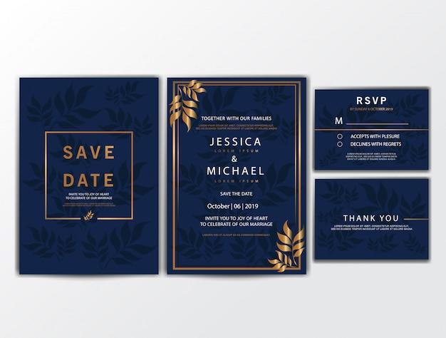 Bruiloft uitnodigingskaarten met ornament