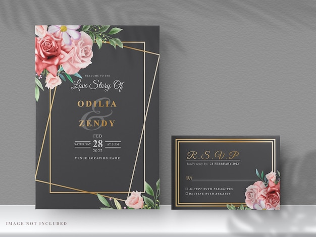 Bruiloft uitnodigingskaarten met prachtige hand getrokken rode bloemen