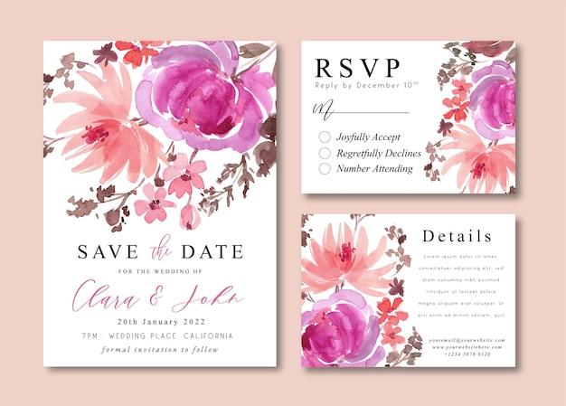 Bruiloft uitnodigingskaarten met warme paarse pioenrozen aquarel bloemen boeketten