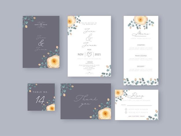 Bruiloft uitnodigingskaarten set versierd met bloemen in grijze en witte kleur.