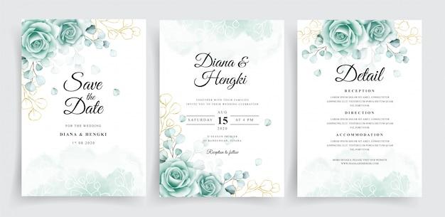 Bruiloft uitnodigingskaarten sjabloon set met aquarel eucalyptus