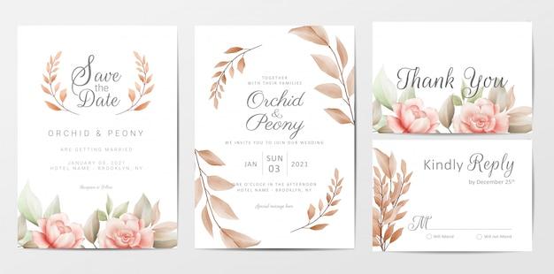 Bruiloft uitnodigingskaarten sjabloon set met bruine bloemen