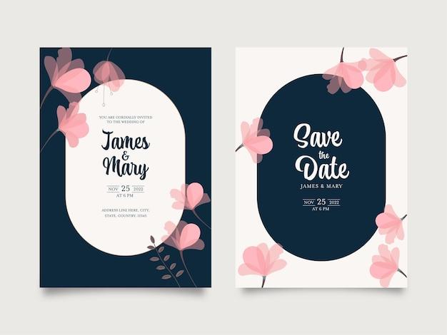 Bruiloft uitnodigingskaarten versierd met roze bloemen in blauwe en witte kleur.