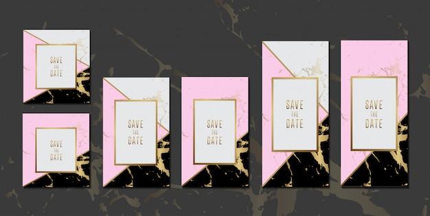 Bruiloft uitnodigingskaarten zwart roze marmeren textuur collectie met gouden frame voor tekst bericht ontwerp