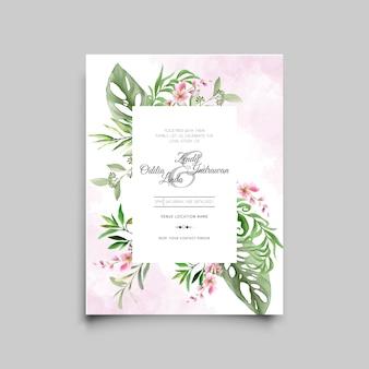 Bruiloft uitnodigingskaartsjablonen met tropische bladeren