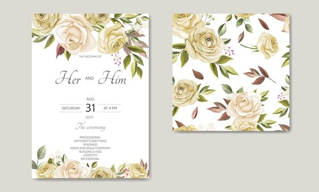 Bruiloft uitnodigingskaartsjabloon ingesteld met mooie naadloze patroon bloemenbladeren