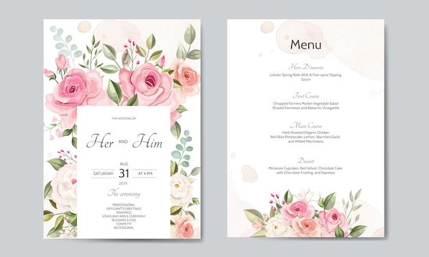 Bruiloft uitnodigingskaartsjabloon ingesteld met prachtige bloemenbladeren